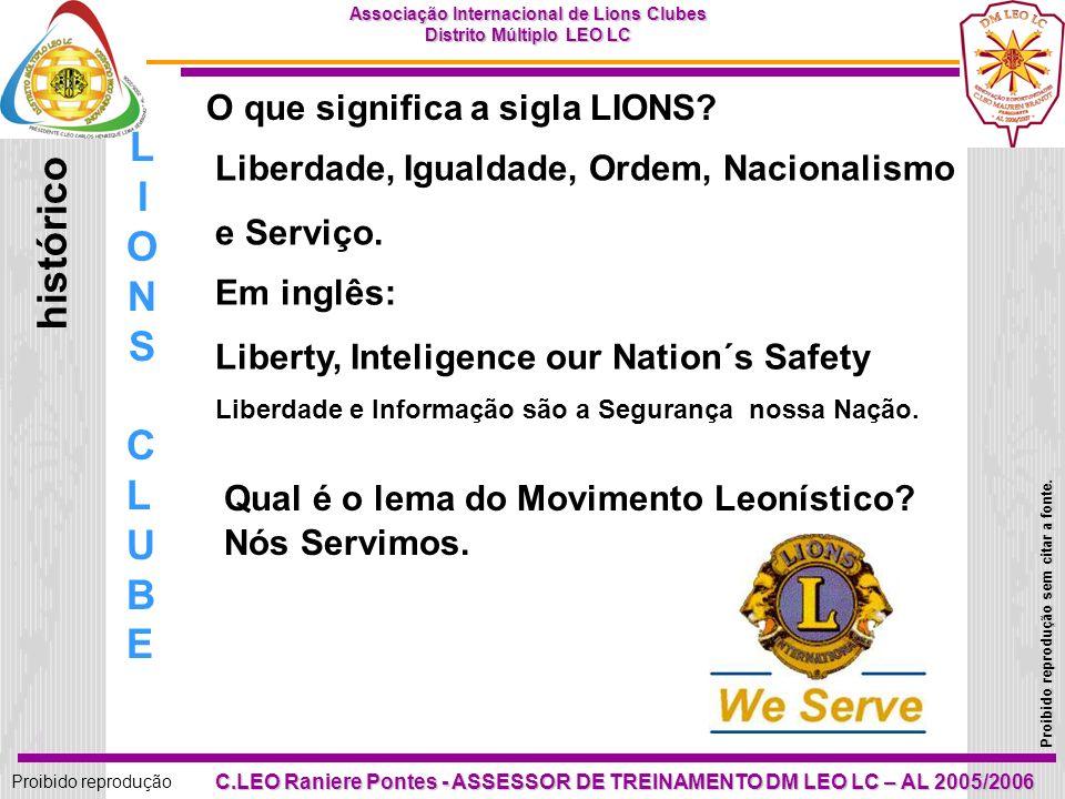 LIONS histórico CLUBE O que significa a sigla LIONS