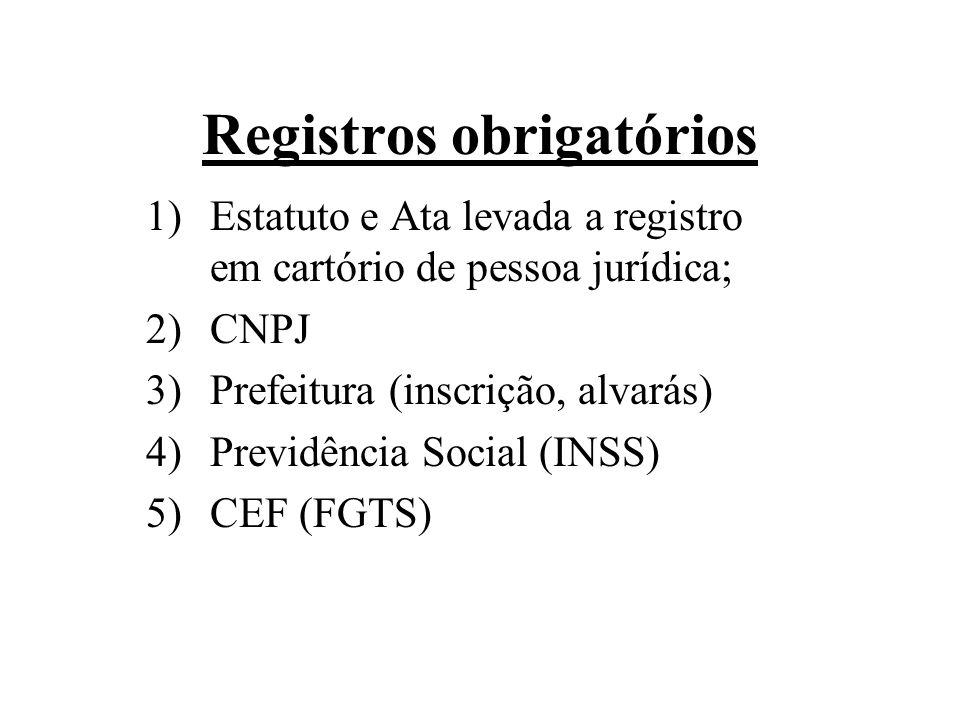 Registros obrigatórios