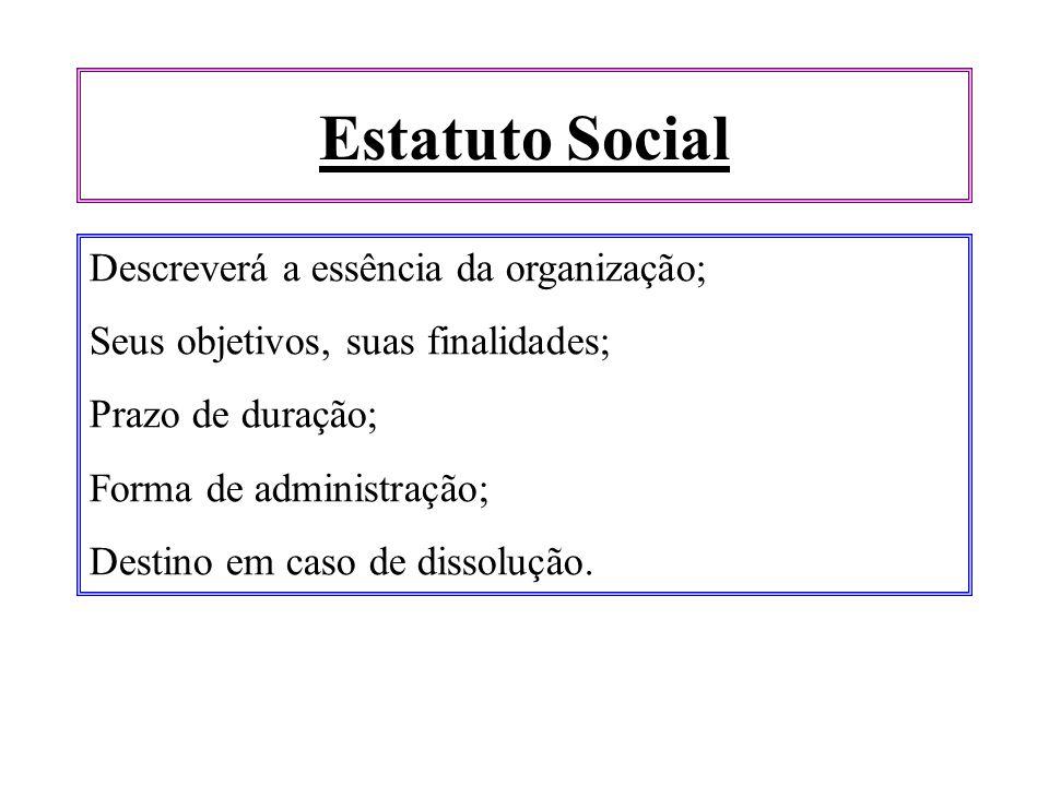 Estatuto Social Descreverá a essência da organização;