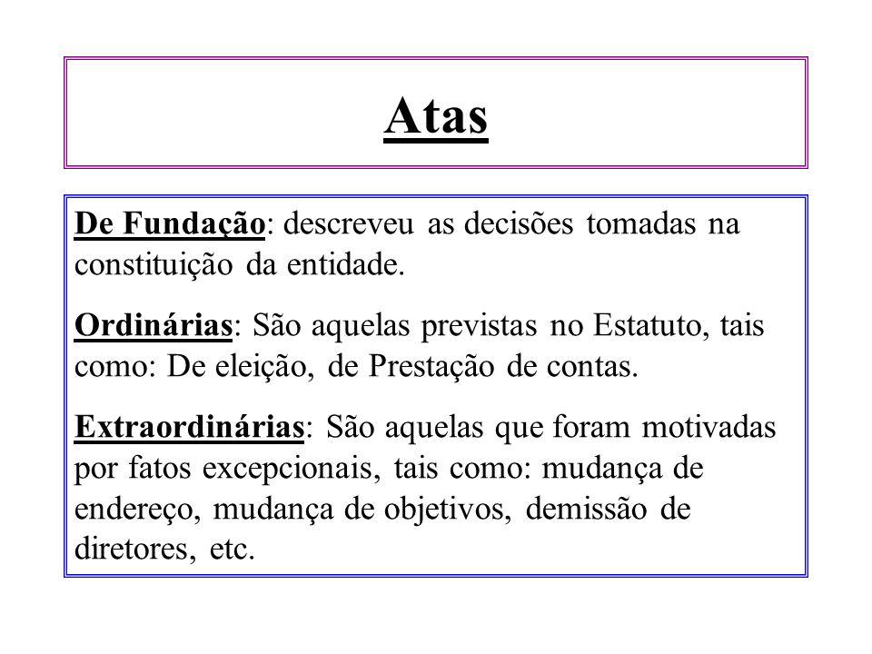 Atas De Fundação: descreveu as decisões tomadas na constituição da entidade.