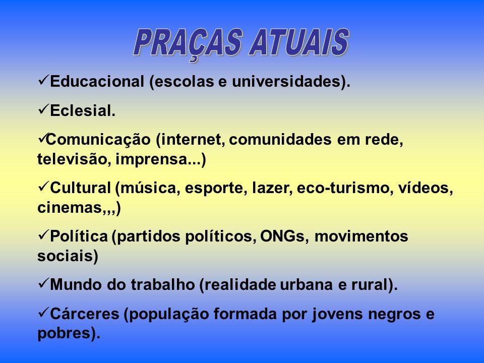 PRAÇAS ATUAIS Educacional (escolas e universidades). Eclesial.