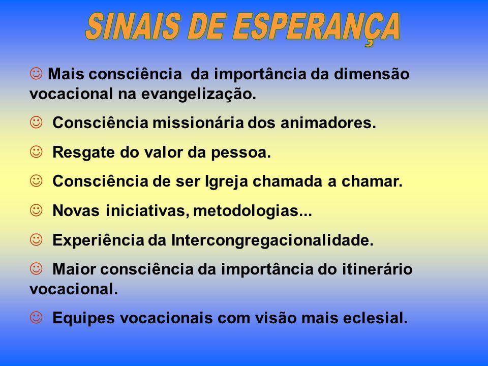 SINAIS DE ESPERANÇA Mais consciência da importância da dimensão vocacional na evangelização. Consciência missionária dos animadores.