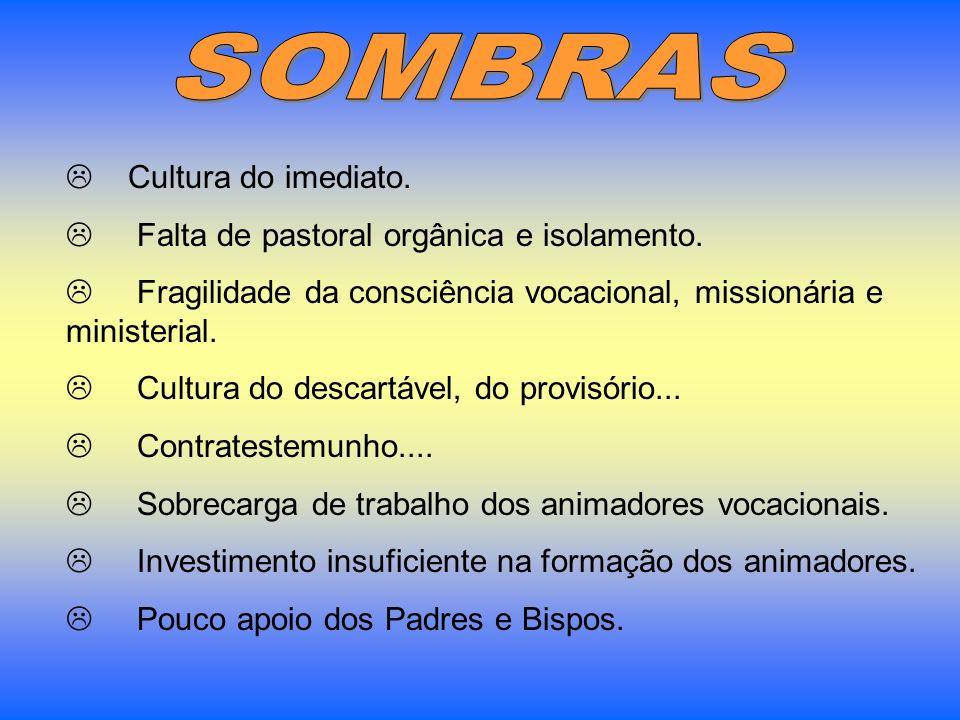 SOMBRAS Cultura do imediato. Falta de pastoral orgânica e isolamento.