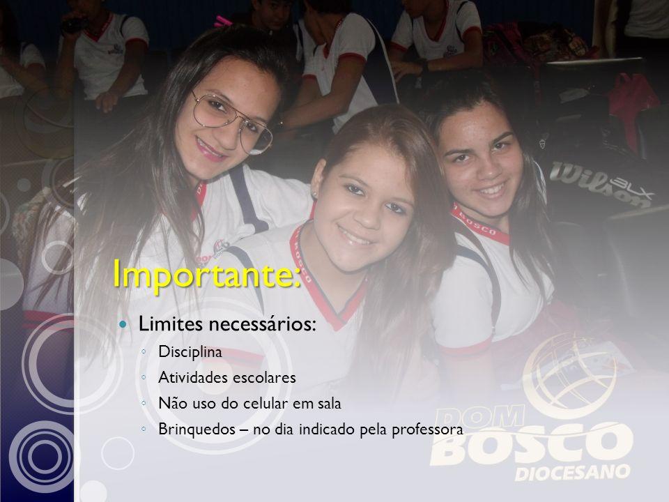 Importante: Limites necessários: Disciplina Atividades escolares