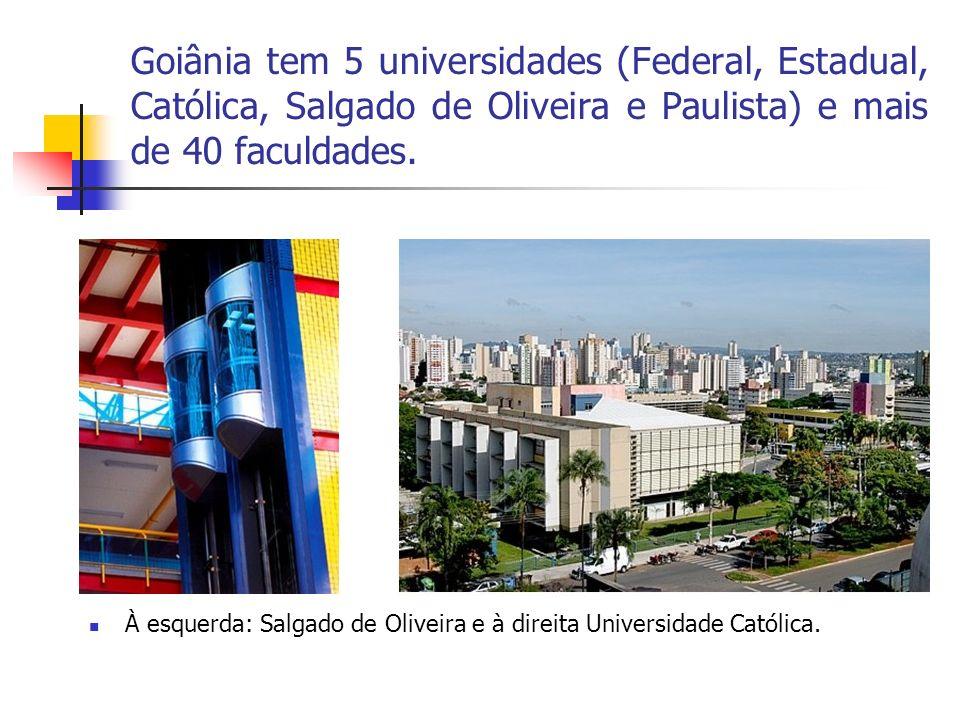 Goiânia tem 5 universidades (Federal, Estadual, Católica, Salgado de Oliveira e Paulista) e mais de 40 faculdades.
