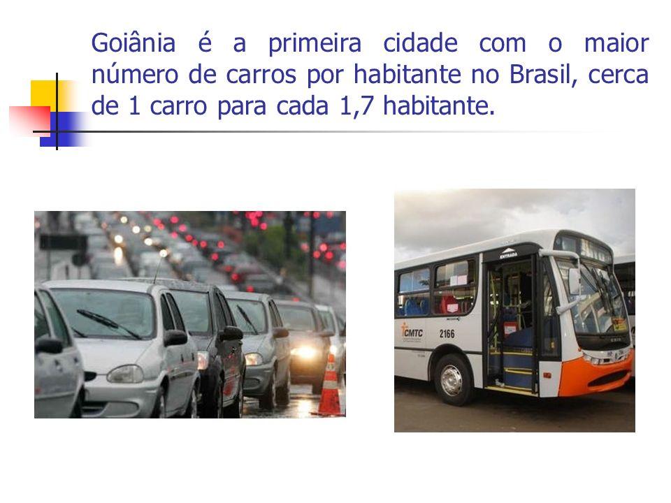 Goiânia é a primeira cidade com o maior número de carros por habitante no Brasil, cerca de 1 carro para cada 1,7 habitante.