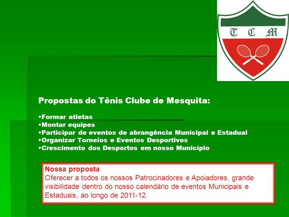 Propostas do Tênis Clube de Mesquita: •Formar atletas •Montar equipes •Participar de eventos de abrangência Municipal e Estadual •Organizar Torneios e Eventos Desportivos •Crescimento dos Desportos em nosso Município