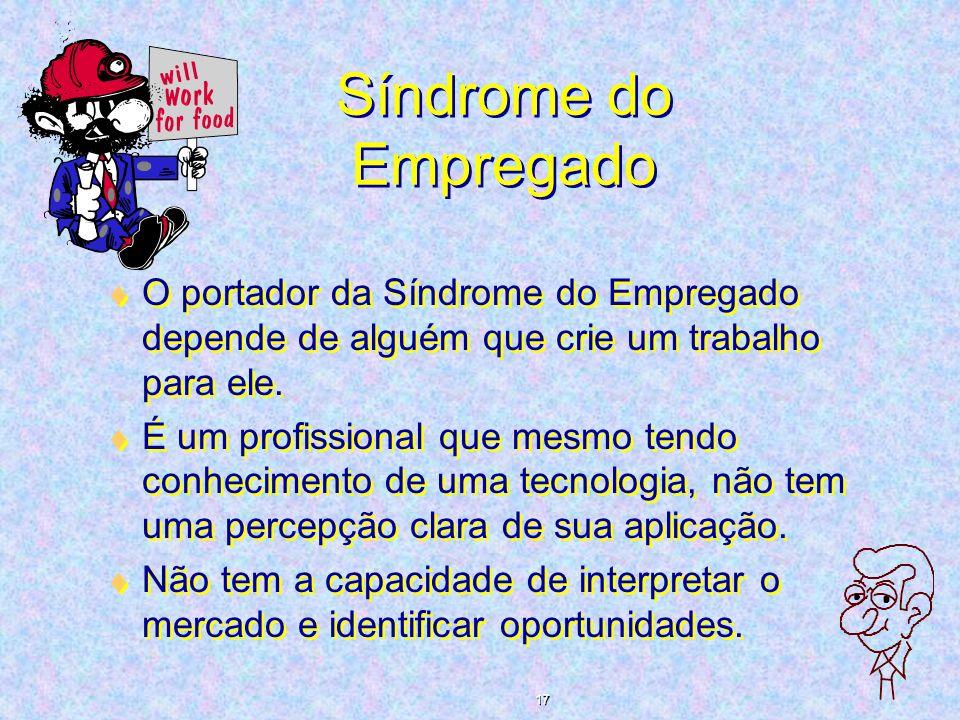 Síndrome do Empregado O portador da Síndrome do Empregado depende de alguém que crie um trabalho para ele.