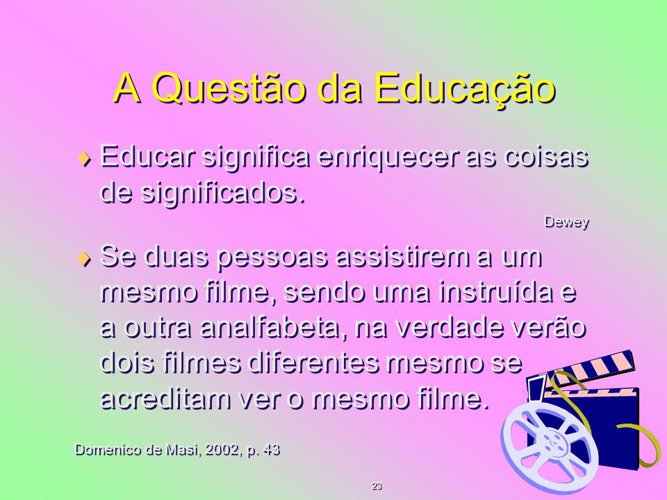 A Questão da Educação Educar significa enriquecer as coisas de significados. Dewey.