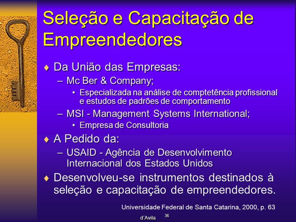 Seleção e Capacitação de Empreendedores