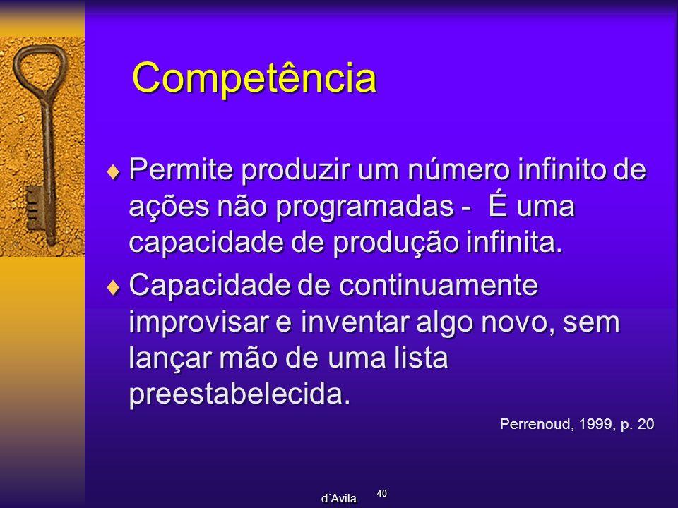 Competência Permite produzir um número infinito de ações não programadas - É uma capacidade de produção infinita.