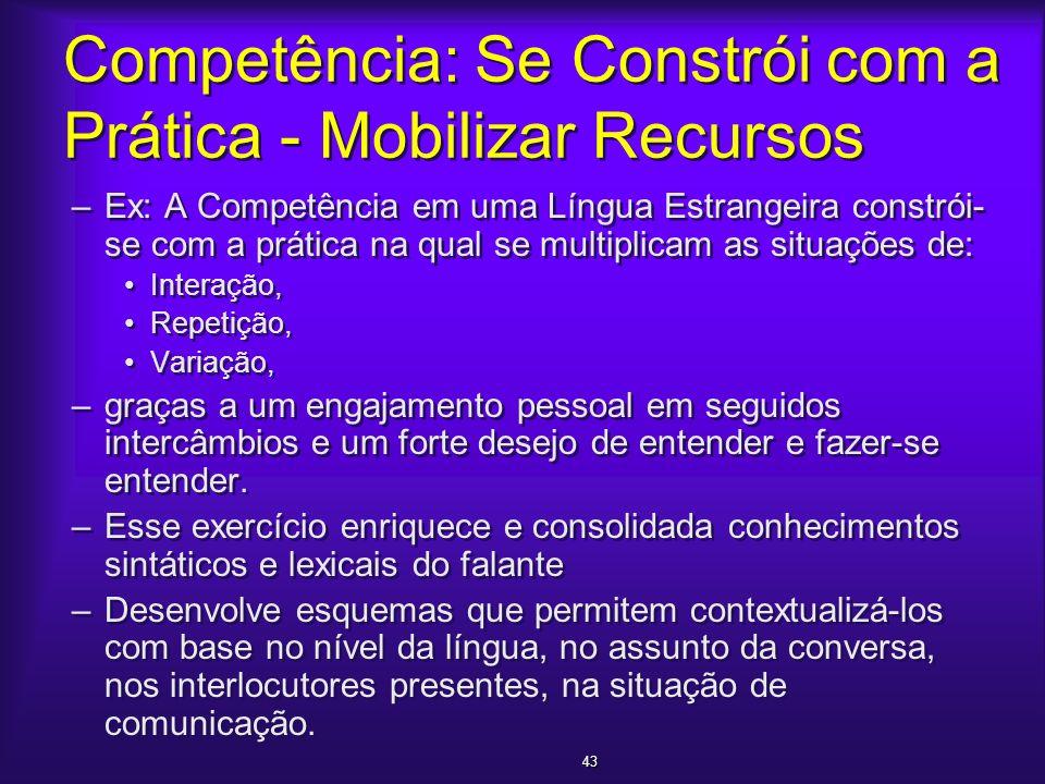 Competência: Se Constrói com a Prática - Mobilizar Recursos