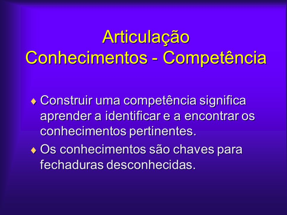 Articulação Conhecimentos - Competência