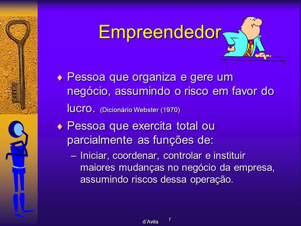 Empreendedor Pessoa que organiza e gere um negócio, assumindo o risco em favor do lucro. (Dicionário Webster (1970)