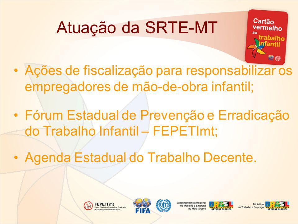 Atuação da SRTE-MT Ações de fiscalização para responsabilizar os empregadores de mão-de-obra infantil;