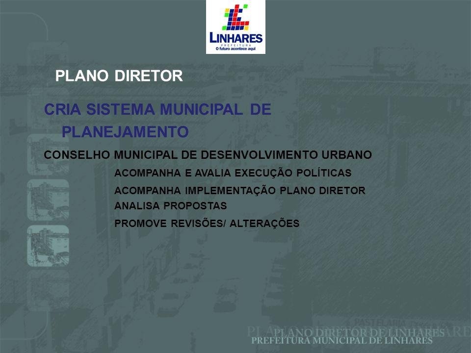 CRIA SISTEMA MUNICIPAL DE PLANEJAMENTO PLANO DIRETOR