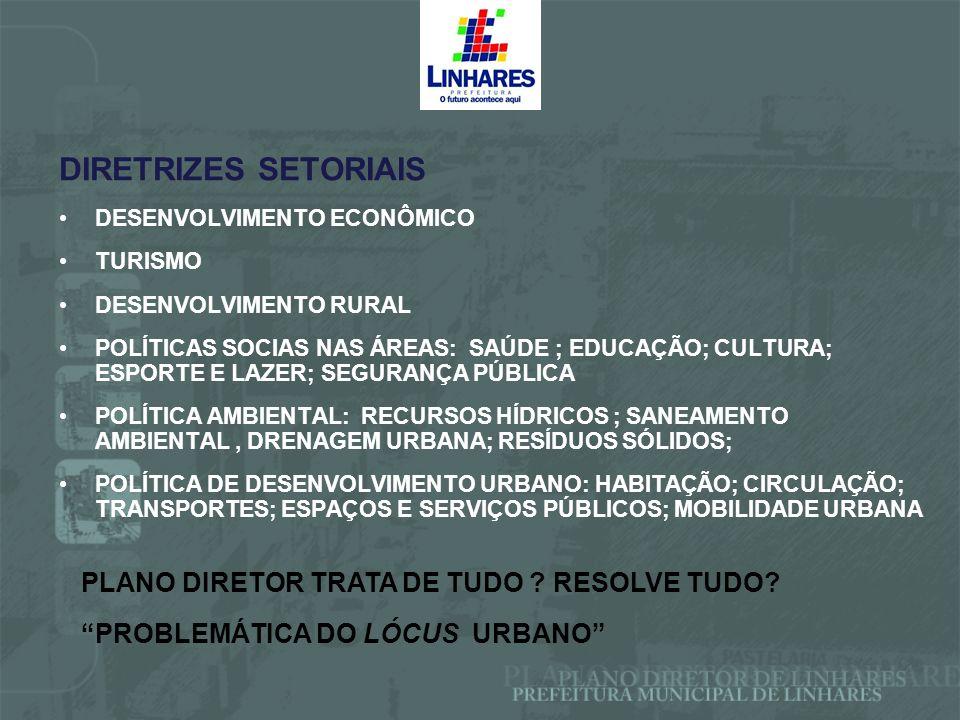 DIRETRIZES SETORIAIS PLANO DIRETOR TRATA DE TUDO RESOLVE TUDO