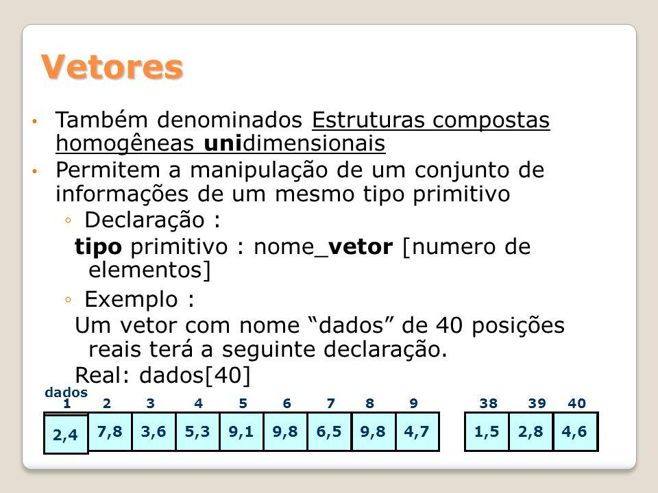 Vetores Também denominados Estruturas compostas homogêneas unidimensionais.