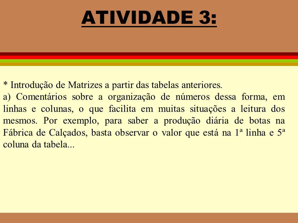 ATIVIDADE 3: * Introdução de Matrizes a partir das tabelas anteriores.