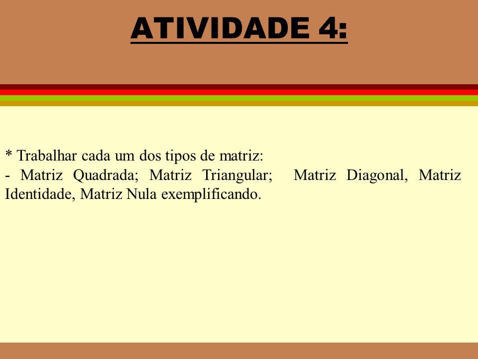 ATIVIDADE 4: * Trabalhar cada um dos tipos de matriz:
