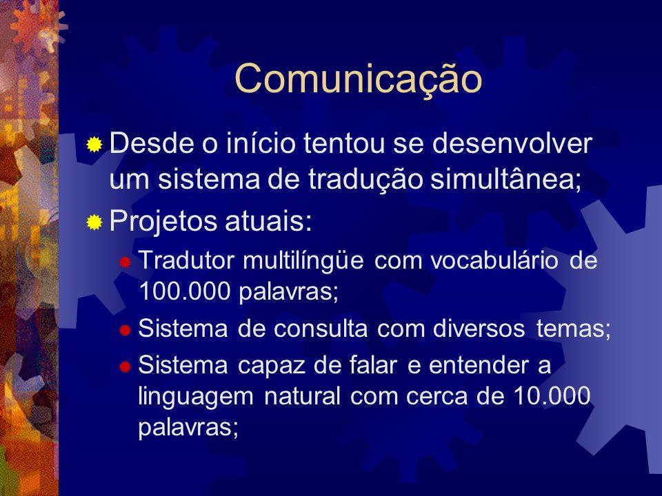 Comunicação Desde o início tentou se desenvolver um sistema de tradução simultânea; Projetos atuais: