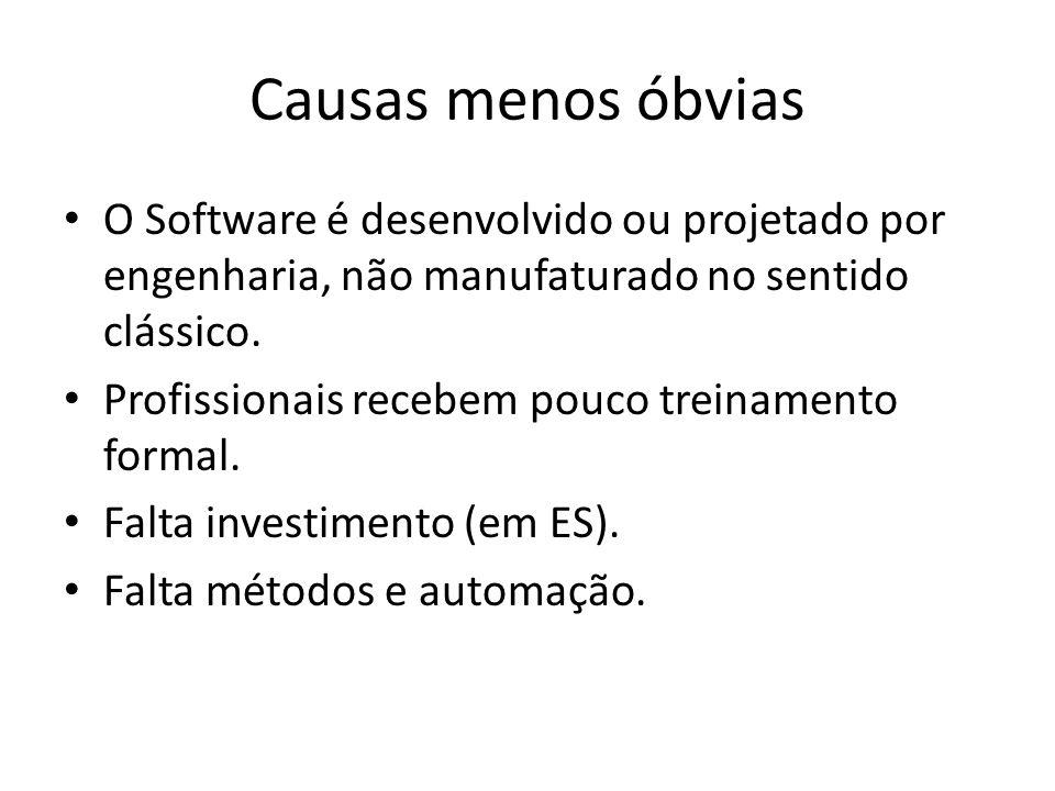 Causas menos óbvias O Software é desenvolvido ou projetado por engenharia, não manufaturado no sentido clássico.
