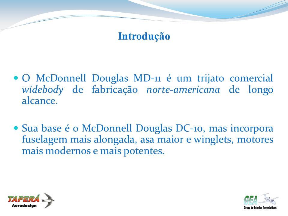 Introdução O McDonnell Douglas MD-11 é um trijato comercial widebody de fabricação norte-americana de longo alcance.