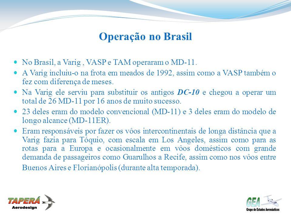 Operação no Brasil No Brasil, a Varig , VASP e TAM operaram o MD-11.