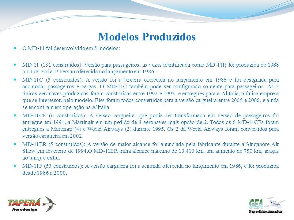 Modelos Produzidos O MD-11 foi desenvolvido em 5 modelos: