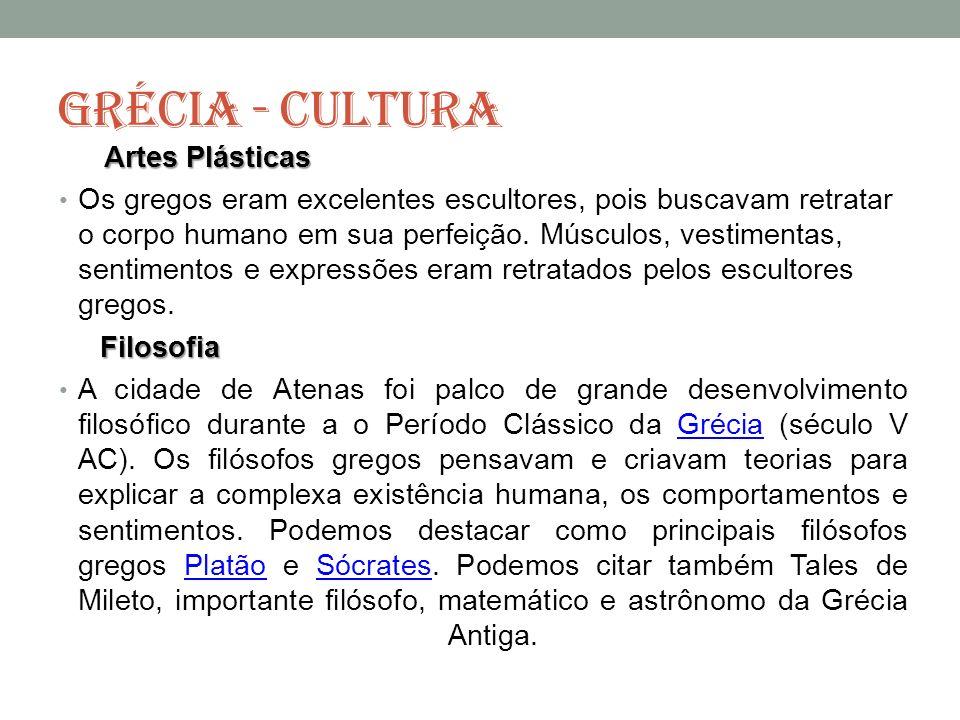 GRÉCIA - CULTURA Artes Plásticas.