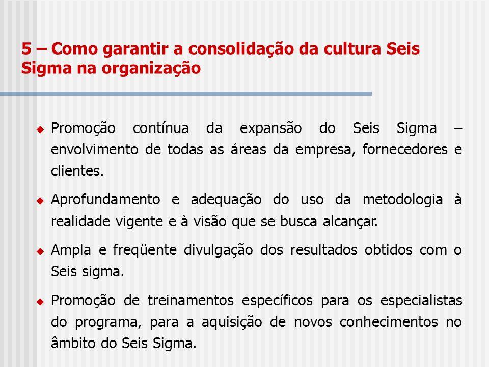 5 – Como garantir a consolidação da cultura Seis Sigma na organização