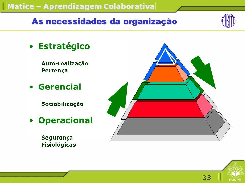 As necessidades da organização