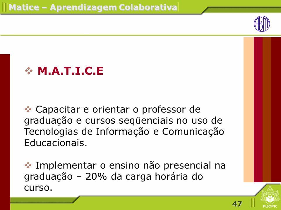 M.A.T.I.C.E Capacitar e orientar o professor de graduação e cursos seqüenciais no uso de Tecnologias de Informação e Comunicação Educacionais.
