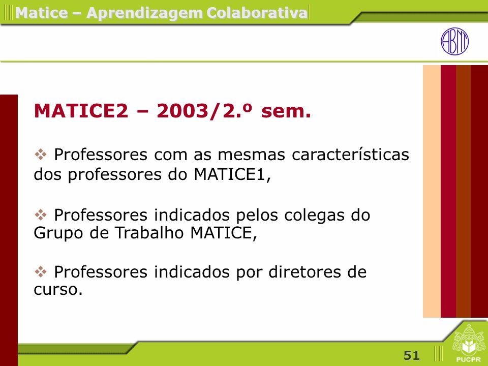 MATICE2 – 2003/2.º sem. Professores com as mesmas características dos professores do MATICE1,
