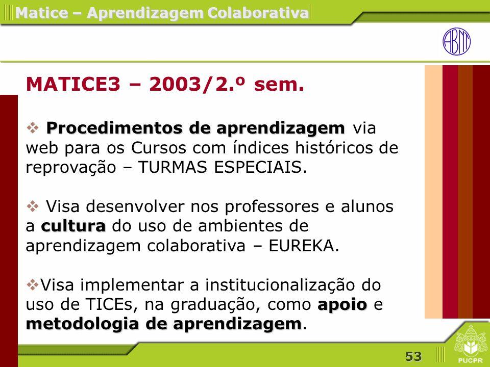 MATICE3 – 2003/2.º sem. Procedimentos de aprendizagem via web para os Cursos com índices históricos de reprovação – TURMAS ESPECIAIS.