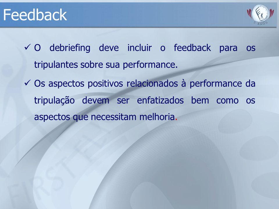 Feedback O debriefing deve incluir o feedback para os tripulantes sobre sua performance.