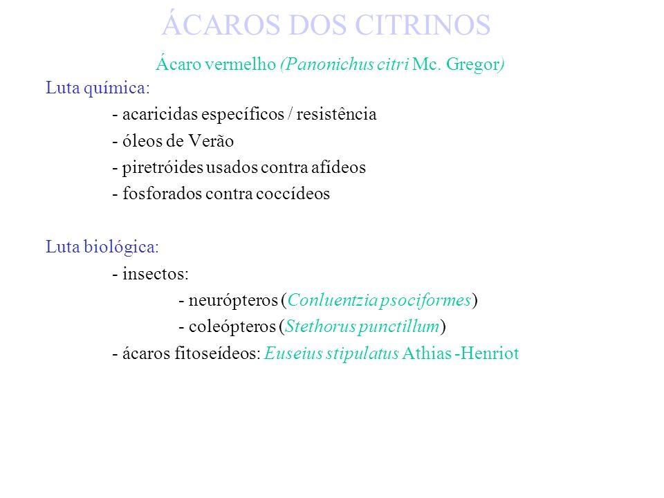 ÁCAROS DOS CITRINOS Ácaro vermelho (Panonichus citri Mc. Gregor)