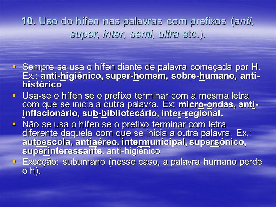 10. Uso do hífen nas palavras com prefixos (anti, super, inter, semi, ultra etc.).