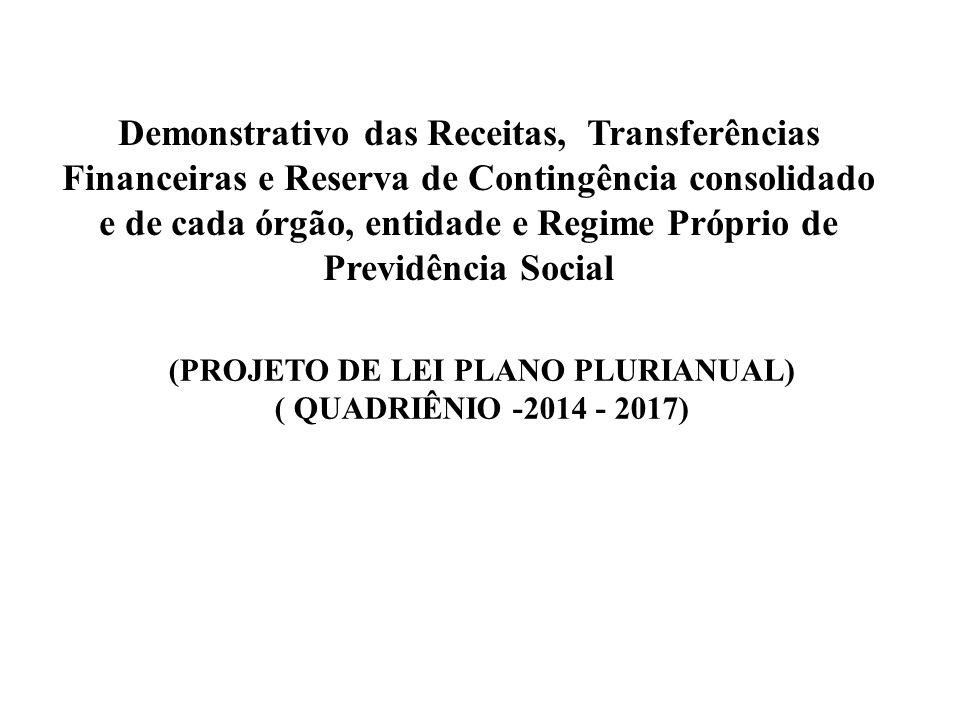 (PROJETO DE LEI PLANO PLURIANUAL) ( QUADRIÊNIO -2014 - 2017)