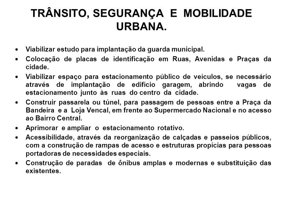 TRÂNSITO, SEGURANÇA E MOBILIDADE URBANA.