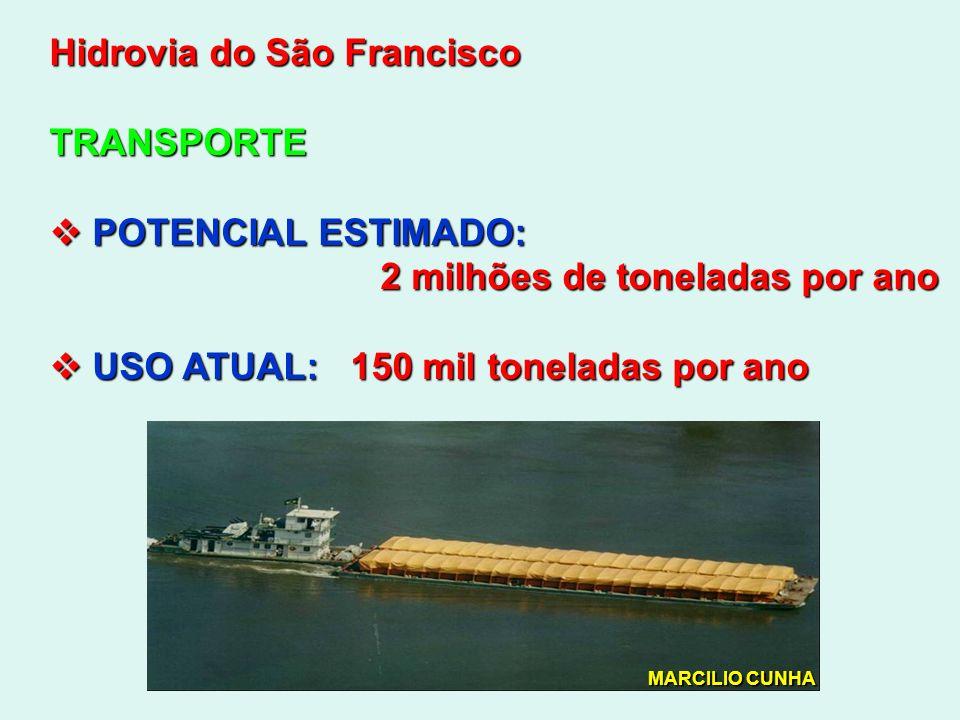 Hidrovia do São Francisco TRANSPORTE POTENCIAL ESTIMADO: