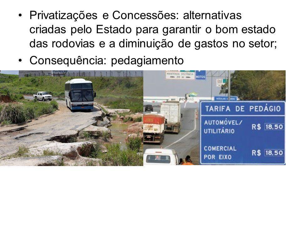 Privatizações e Concessões: alternativas criadas pelo Estado para garantir o bom estado das rodovias e a diminuição de gastos no setor;