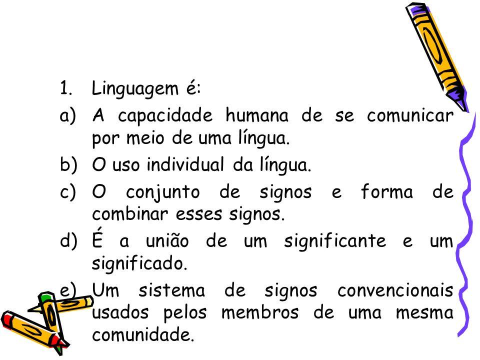 Linguagem é: A capacidade humana de se comunicar por meio de uma língua. O uso individual da língua.