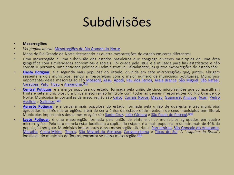 Subdivisões Mesorregiões