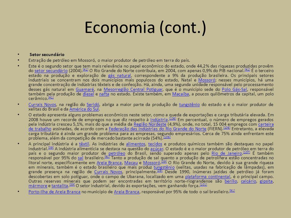 Economia (cont.) Setor secundário