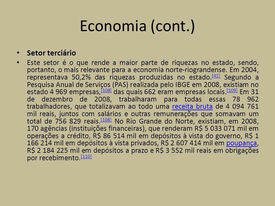 Economia (cont.) Setor terciário