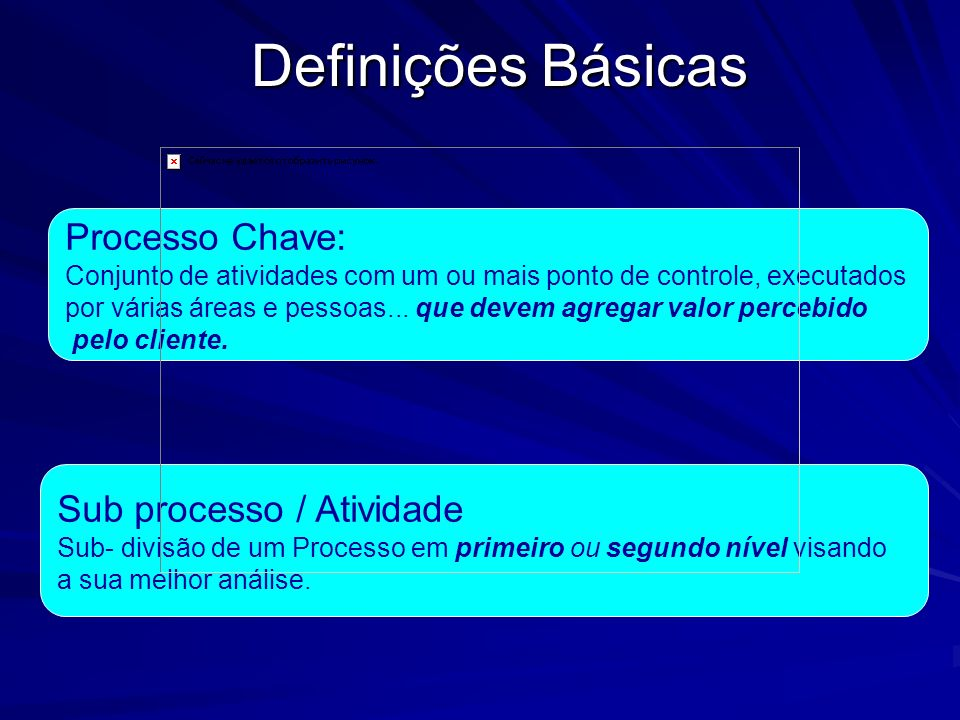 Definições Básicas Processo Chave: Sub processo / Atividade