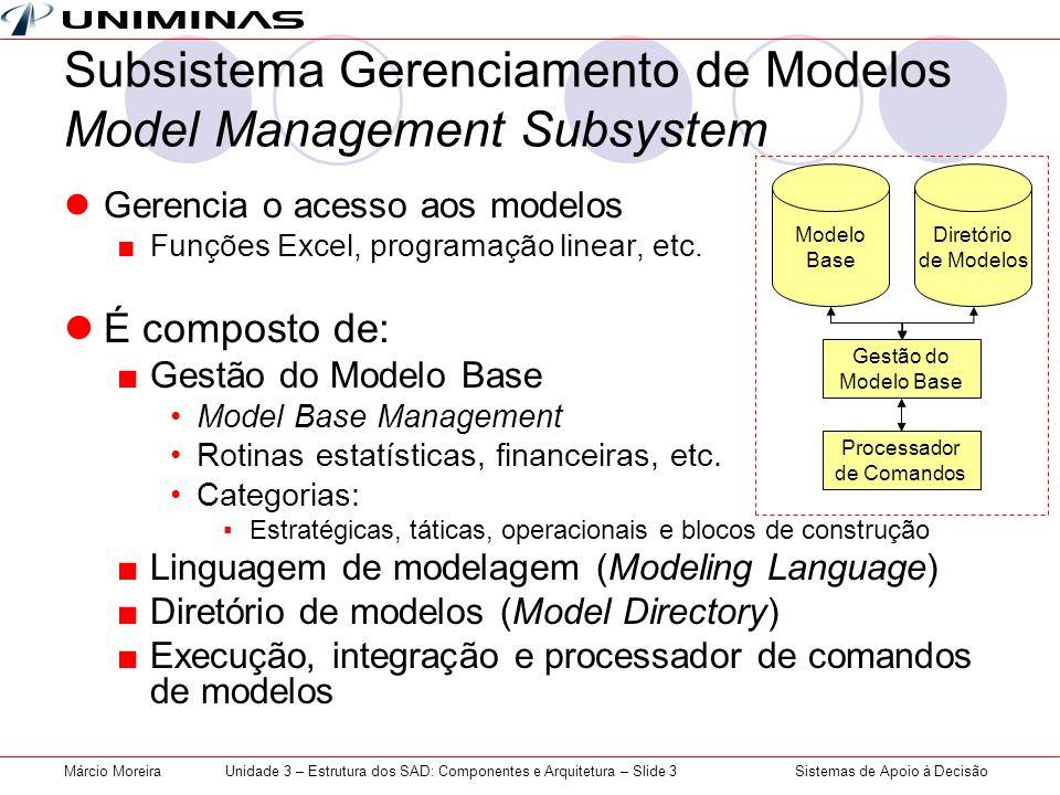 Subsistema Gerenciamento de Modelos Model Management Subsystem
