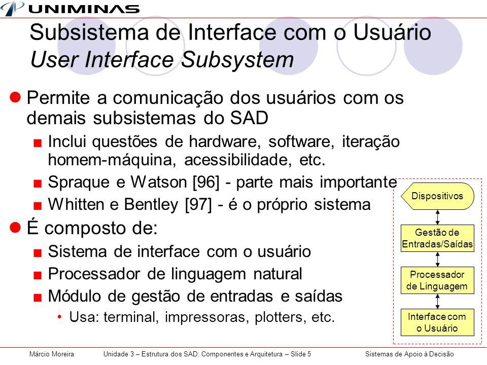 Subsistema de Interface com o Usuário User Interface Subsystem