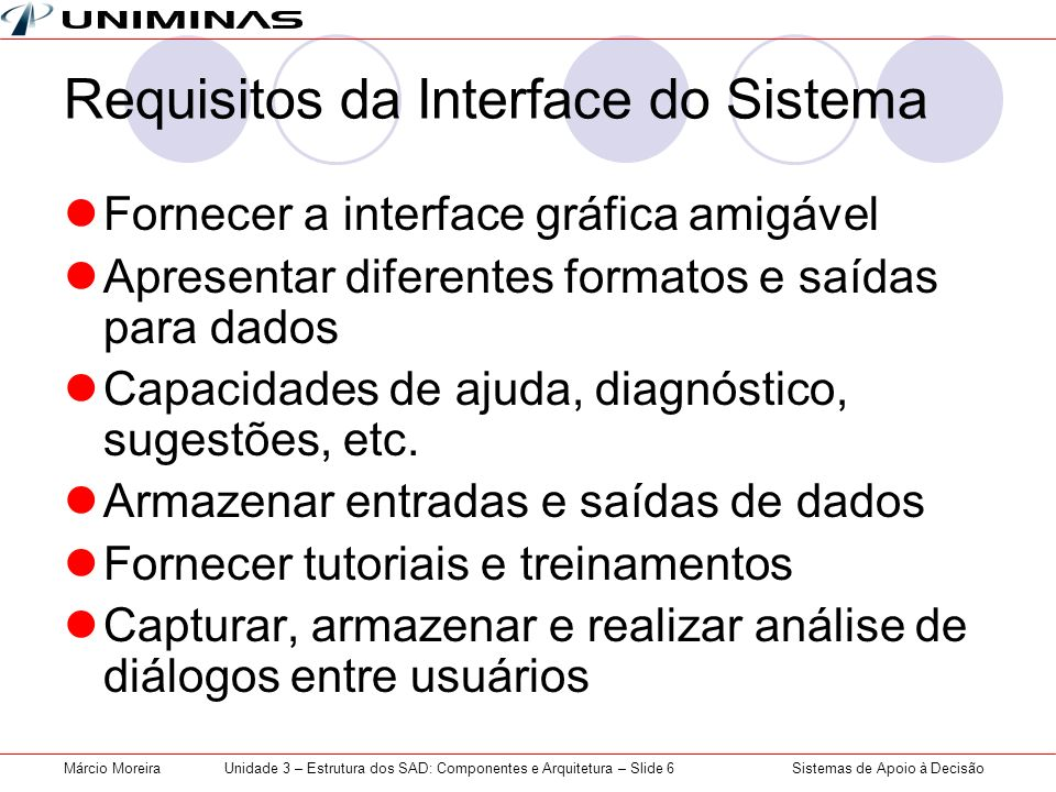 Requisitos da Interface do Sistema